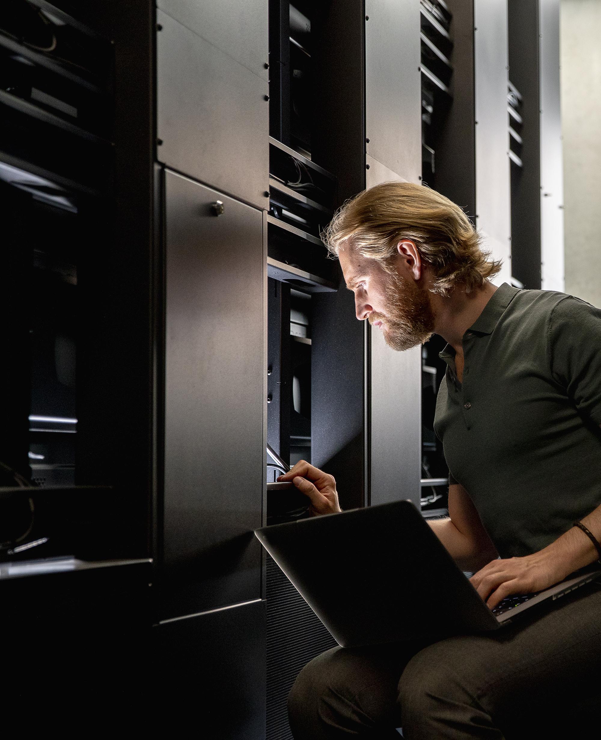 Computer Server Technician at Work