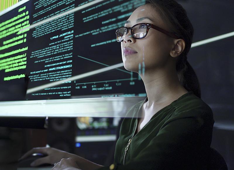young Asian woman looking at see through data