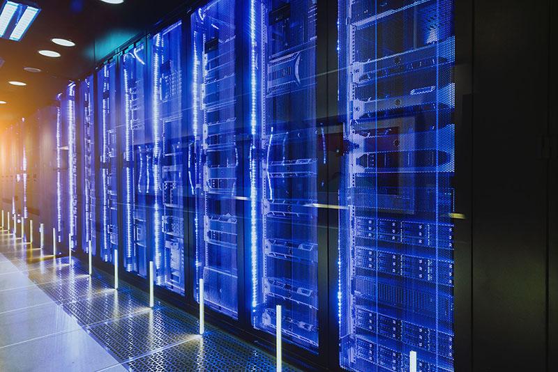 Data center in server room