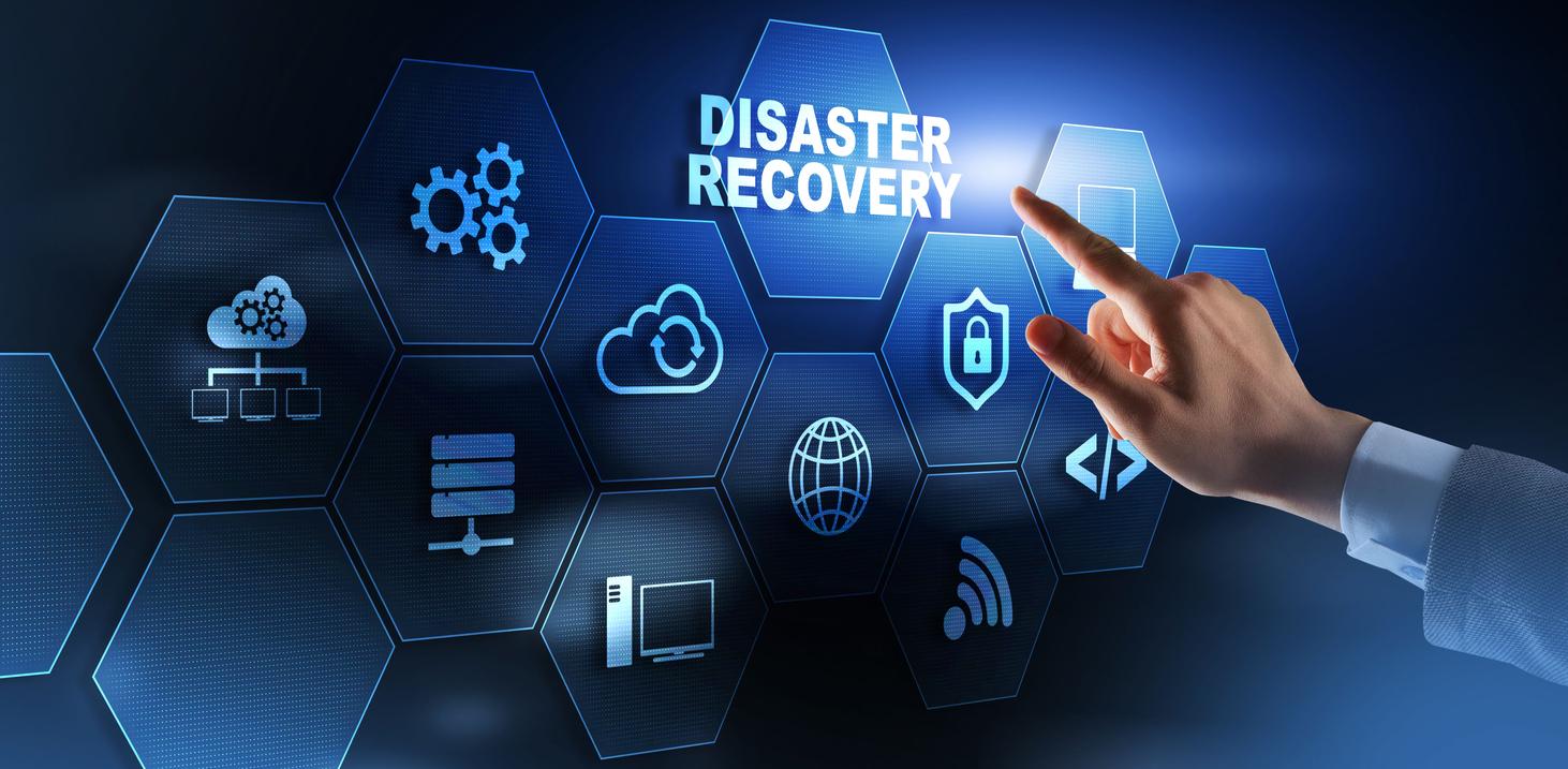 Man pressing recovery on virtual screen.