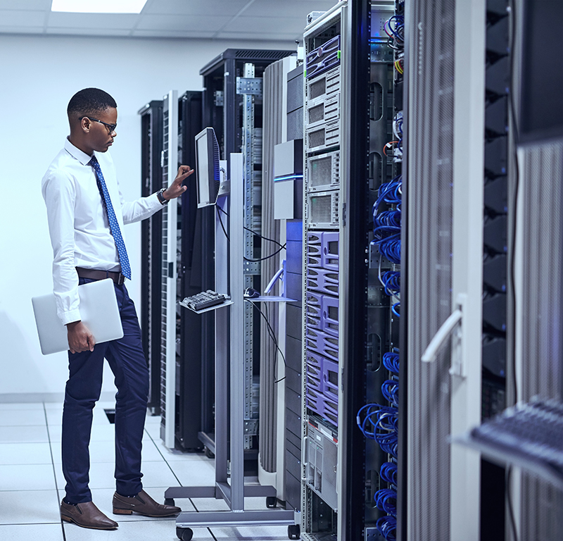 IT technician working and checking if all the servers are up and running