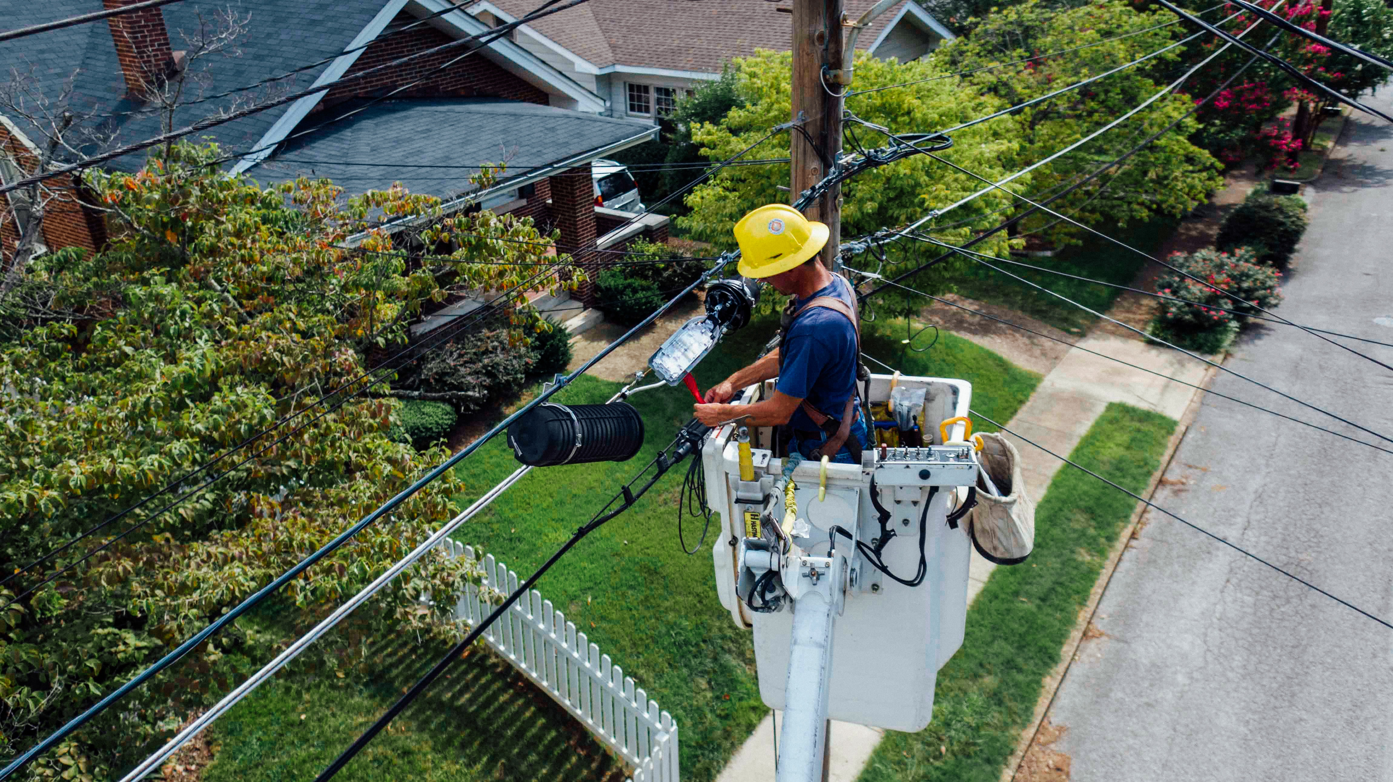 Hydro worker working on power lines